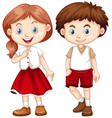 boy and girl in red and white costume vector image vector image