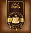 Brown background with coffee label and badge vector image vector image