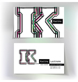 Business card design with letter K vector image vector image