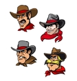 Cartoon cowboys set vector image vector image
