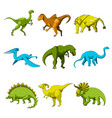 cartoon dinosaur icon set vector image