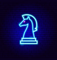 chess knight neon sign vector image vector image