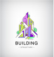 colorful buildings urban skyline logo vector image