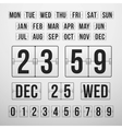 Countdown Timer and Date Calendar Scoreboard vector image vector image
