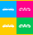 crashed cars sign four styles of icon on four vector image vector image
