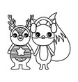 cute bear and fox with ear muffs merry christmas vector image vector image
