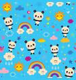 cute panda bears seamless pattern vector image