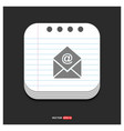 email icon gray icon on notepad style template vector image