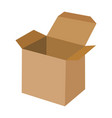 empty open cardboard box isolated on white vector image
