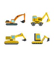 excavator icon set flat style vector image vector image