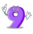 finger paper cut number nine letter mascot vector image