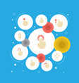 flat icons hold right sensory and other vector image vector image