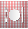 Fork Plate and Knife Made from Paper on Tablecloth vector image vector image