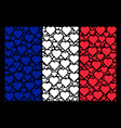 france flag pattern of valentine heart items vector image