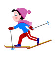 funny comic skiing girl isolated on white vector image