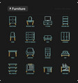 furniture thin line icons set dressing table vector image vector image