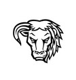 half bull lion head black and white vector image vector image