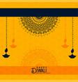 happy diwali yellow decorative background vector image vector image