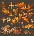 heraldic collection of golden decorative swirls vector image