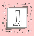 high boots icon thin line in pink frame vector image