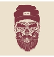 Hipster skull with hairstyle mustache and beard vector image vector image