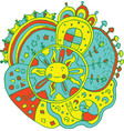 kid drawn mandala with sun and nature elements vector image vector image