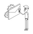 man and technology isometric in black and white vector image