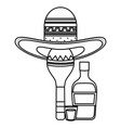 maraca with mexican hat and tequila bottle vector image