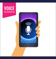 mobile app for voice recognition or music sounds vector image vector image