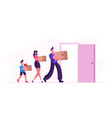 people relocation happy family moving into new vector image vector image