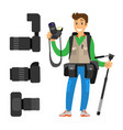 photographer high resolution action cameras lens vector image