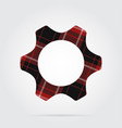 red black tartan isolated icon - cogwheel vector image vector image