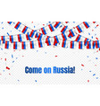 russia flags garland on transparent background vector image
