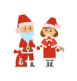 santa claus and helper in traditional costumes vector image vector image