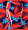 seamless bright autumn pattern with red and blue vector image vector image