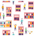 seamless city pattern urban buildings and vector image