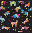 seamless pattern with cats silhouettes vector image vector image