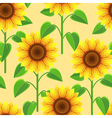 seamless pattern with flowers sunflowers vector image
