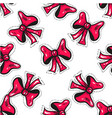 seamless pattern with pink bow decorating greeting vector image