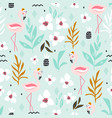 seamless tropical pattern with flamingos flowers vector image vector image