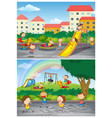 set children playing at playground scenes vector image