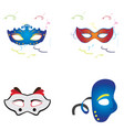 set of carnival masks vector image
