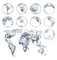 sketch earth planet continents world map vector image