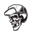 skull in baseball cap in monochrome style design vector image vector image