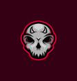 skull mascot logo with little horn skull gaming m vector image vector image