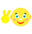 smiley with victoria gesture v icons vector image vector image