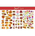 sweet collection of tasty decorated desserts and vector image vector image