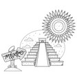 teotihuacan pyramid of the sun and pyramid of the vector image
