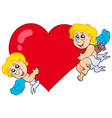 two cupids holding heart vector image