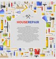 white poster with home and tools for house repair vector image vector image